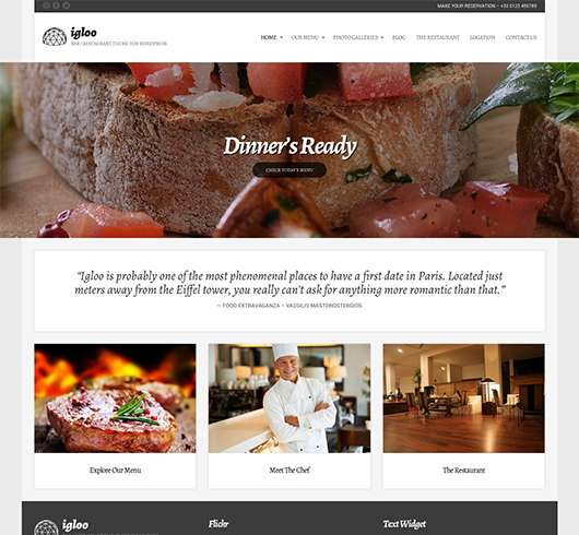 On line restaurant templates
