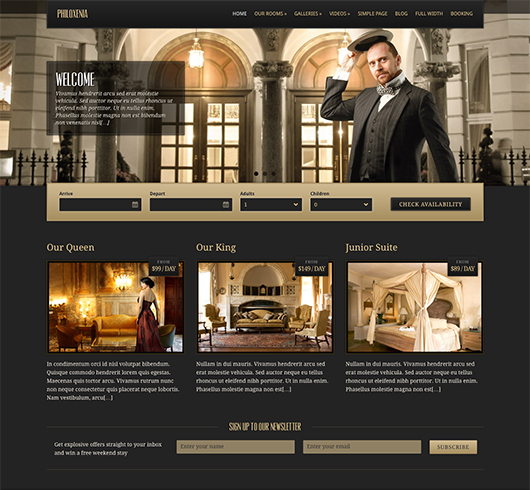 On line hotel templates
